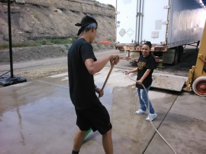 Cleaning up the concrete after all have gone home. We are still smiling from all the fun in the Lord!!